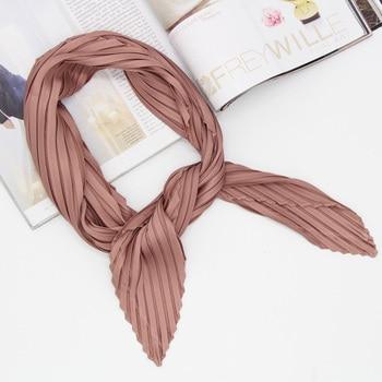 Plain color pleated women fashion kerchief headscarf solid square scarf size 70x70cm Foulard Bandana LL180375