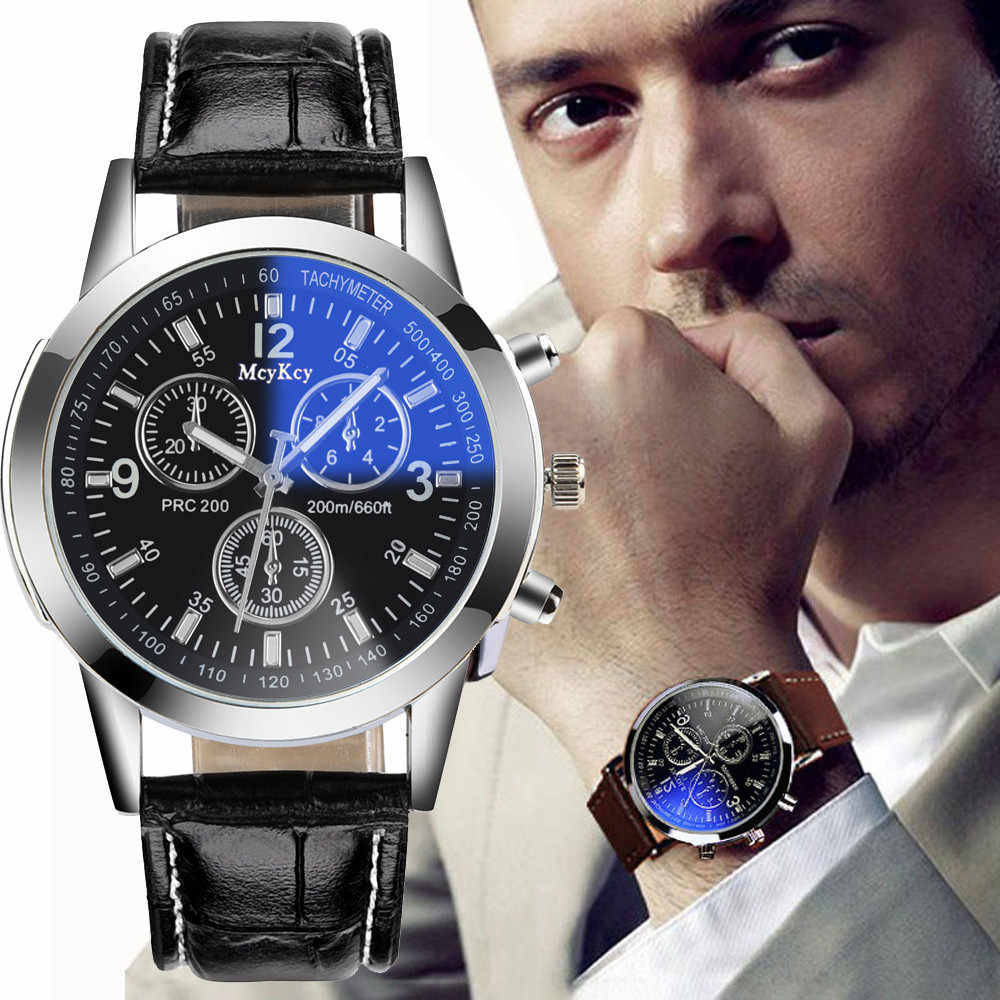 2019 NEW Business Mens Watches Luxury Faux Leather Strap Analog Quartz Wrist Watch Sports Male Clock Relogio Masculino #YL5