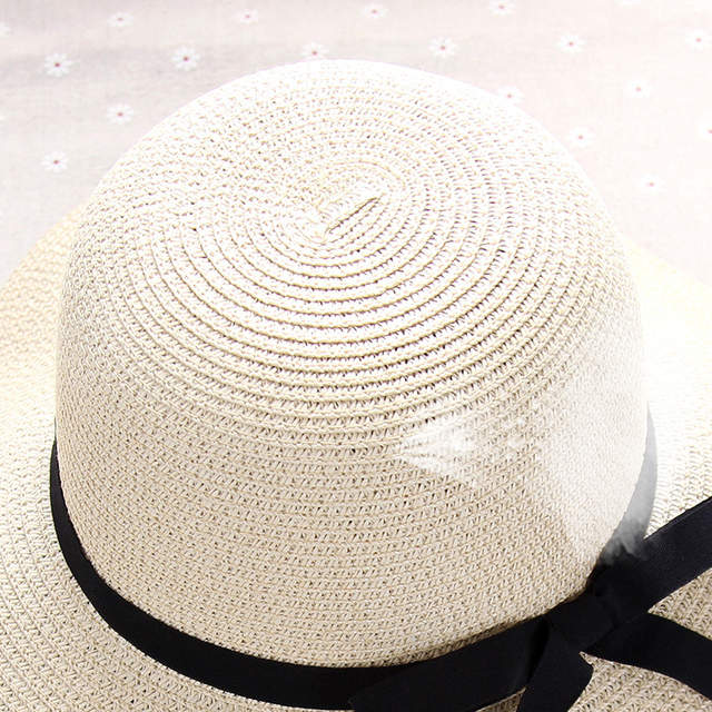 1bf1f8599cd HT1299 Hot Sale Classic Women Summer Hats Large Big Wide Brim Straw Hats  Black Ribbon Band Lady Floppy Beach Sun Hats Foldable-in Sun Hats from  Apparel ...