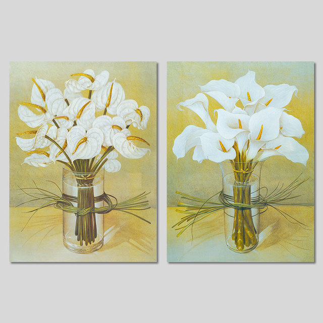 2pcs Modern Fashion Flower arrangement decoration white morning glory wall art picture Canvas Painting for living room unframed-in Painting & ...