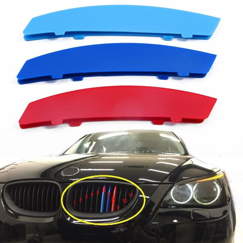 Nuovo 3D Car Styling Anteriore Griglia Griglia Assetto Striscia di Copertura di Copertura ABS di Colore Rosso Blu Per BMW 5 Serie E60 2004-2010