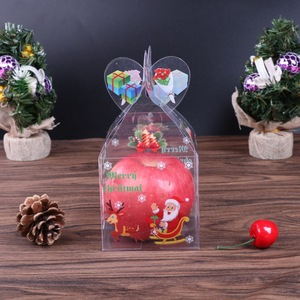 Image 2 - Caja de caramelos transparente de PVC, caja de regalo decorativa de Navidad, de Papá Noel, muñeco de nieve, alce, Reno, cajas de manzana de caramelo, 20 Uds.
