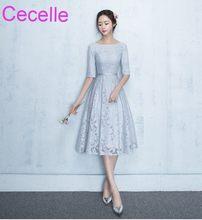c396180770 Vintage Srebrny Lace Krótkie Suknie Druhna Modest Z Pół Rękawy Jewel Linii  Tea Długość Kobiet Nieformalne