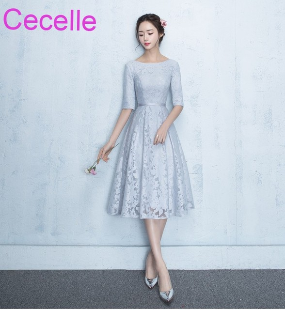 cd31af8edd3 Vintage Silver Lace Short Modest Bridesmaid Dresses With Half Sleeves Jewel  A-line Tea Length Women Informal Wed Party Dress