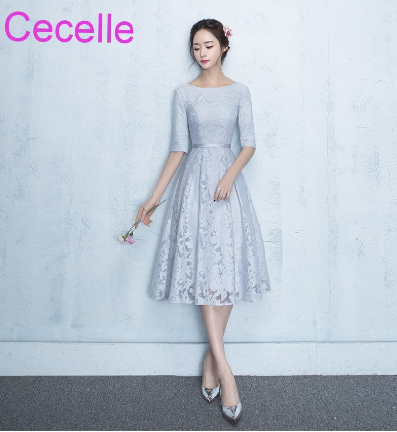 Vintage Silver Lace Short Modest   Bridesmaid     Dresses   With Half Sleeves Jewel A-line Tea Length Women Informal Wed Party   Dress