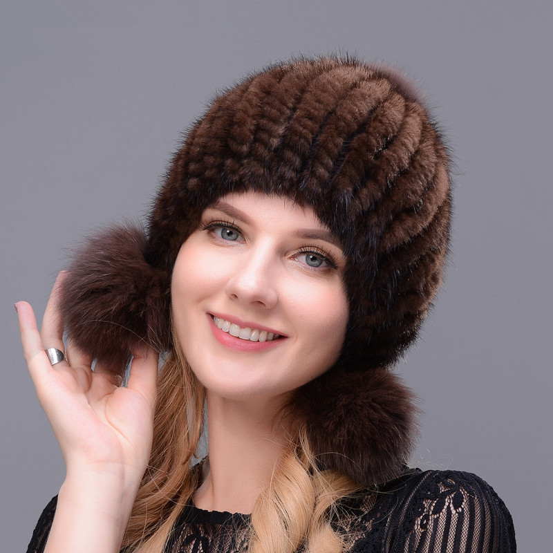 Winter Hot Sale Real Mink Fur Hat For Women Knitted Ear Warm Cap The Spiral Beanies With Fox Pompom On Top