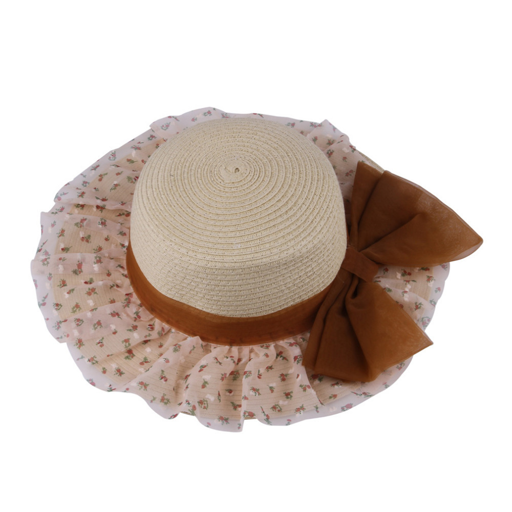 3616a83907a Fashion Tea Party Hats Summer Women s Cool Wide Brim Straw Beach Sun Hat  Floppy Visor Cap Hats For Women Female viseira-in Sun Hats from Apparel  Accessories ...