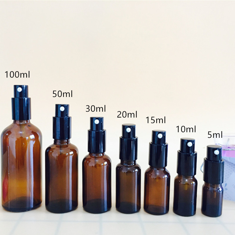 5ml/10ml/15ml/ 20ml/30ml/50ml/100ml Refillable Press Pump Glass Spray Bottle Oils Liquid Container Perfume Atomizer Travel 20#