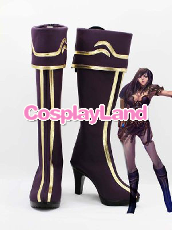Customize Boots LOL Cosplay The Goddess of War Shivell Purple Cosplay Boots Cosplay Costume Anime Party Shoes