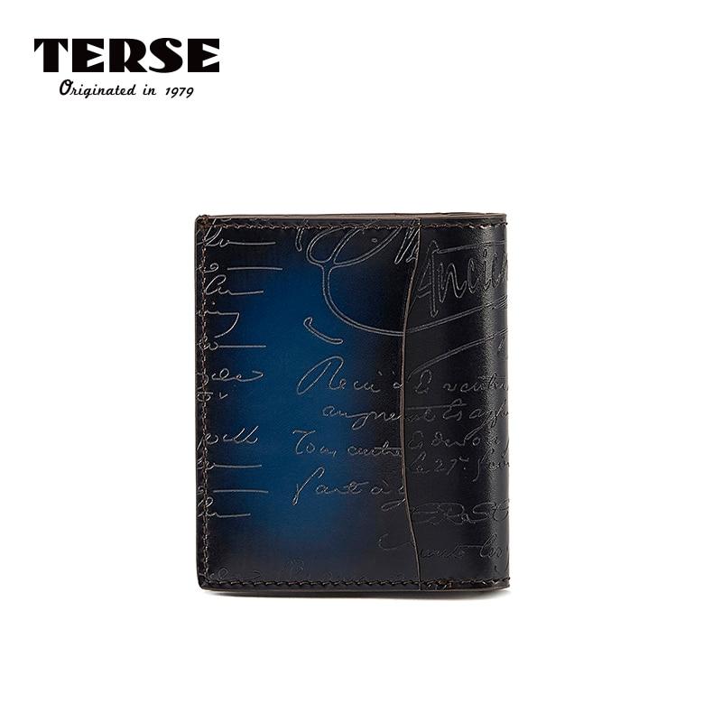 TERSE 2018 nouveau portefeuille véritable en cuir de veau court sac à main pour hommes avec gravure mode portefeuille personnaliser Logo 9438-1