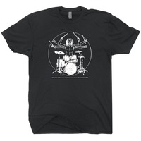 Da Vinci Drums T Shirts Rock Drummer Vitruvian Man Player Band Guitar Bass Amp Tee Drumming