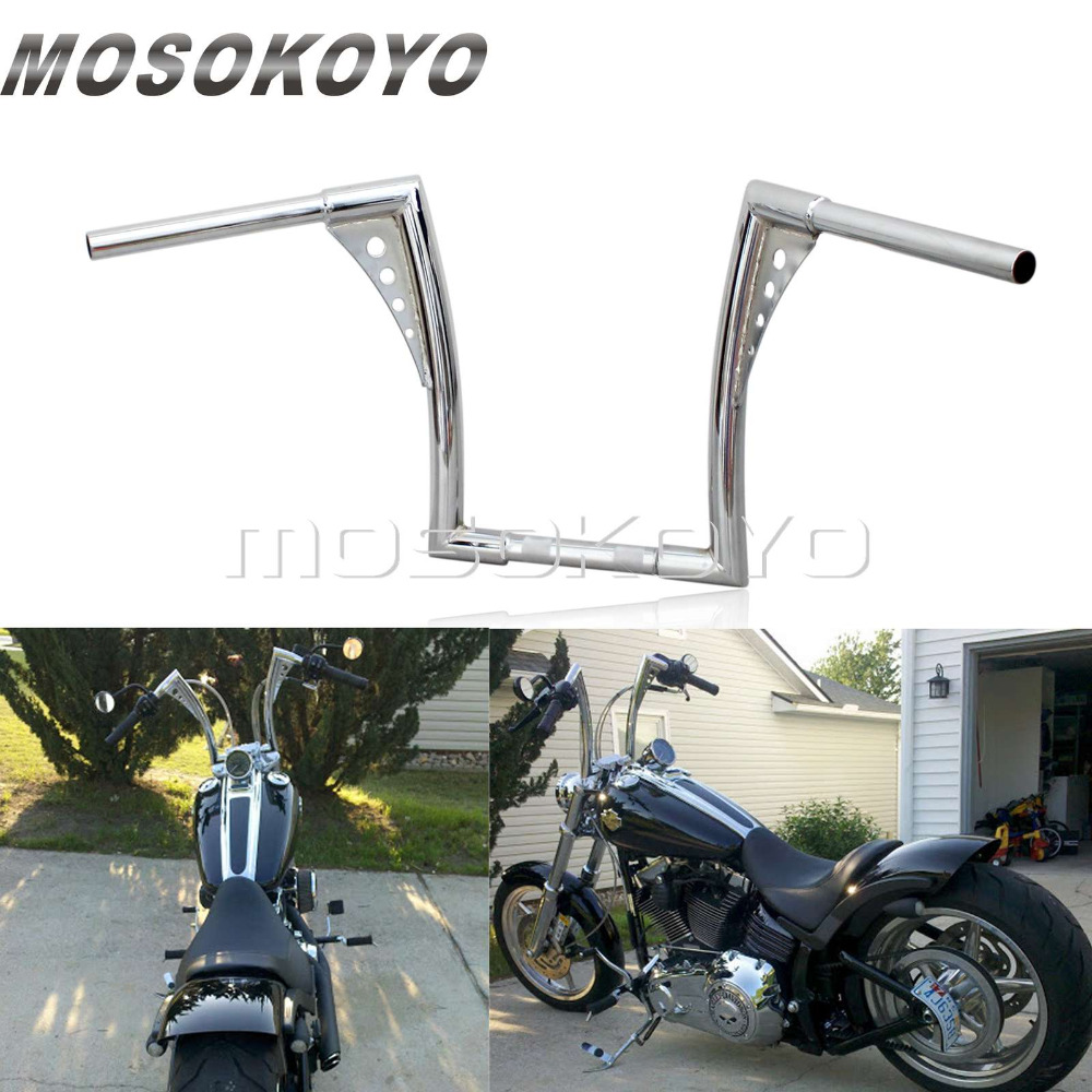 Chrome Black Motorcycle APE Hanger Handlebars 1 1 4 Fat Bar 12 Rise 30 1 2