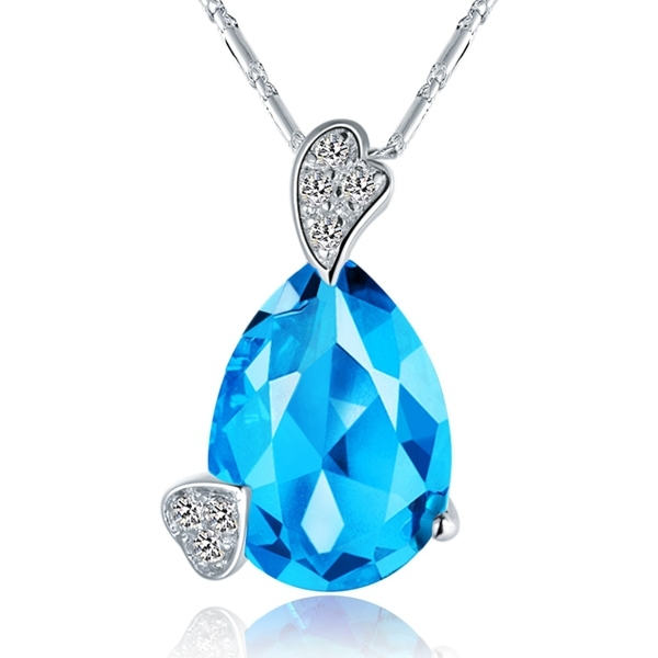 2015 Fashion Necklaces for Women Choker Collares Mujer Bijoux Silver Crystal Necklace Blue Collane Donne Free Shippig Ulove N747