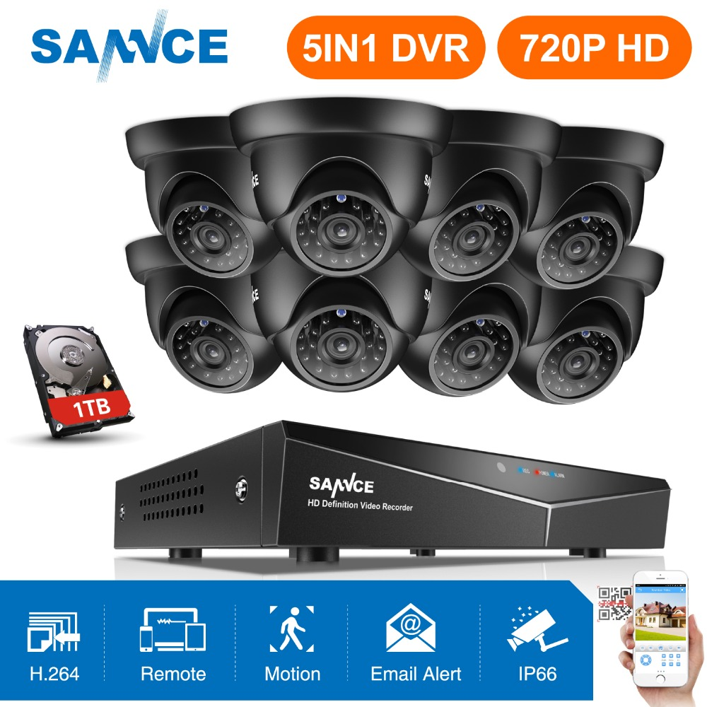 SANNCE Security Camera System 4CH TVL 720P AHD Weatherproof Outdoor CCTV Camera 4 Channels Video Surveillance Kits 1TB HDD