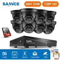 SANNCE 8CH 720P sistema de cámara de seguridad HDMI 5IN1 DVR con 8 Uds TVI 720P exterior resistente a la intemperie CCTV inicio Video vigilancia kits