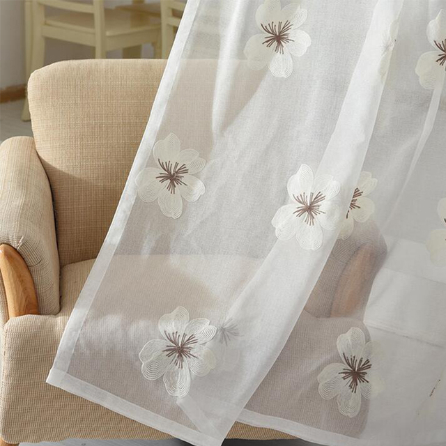 Blue Tulle Fabrics Embroidered Flowers 280 X100cm Sheer Curtains For  Bedroom Kitchen Window Translucent Customized Fabric