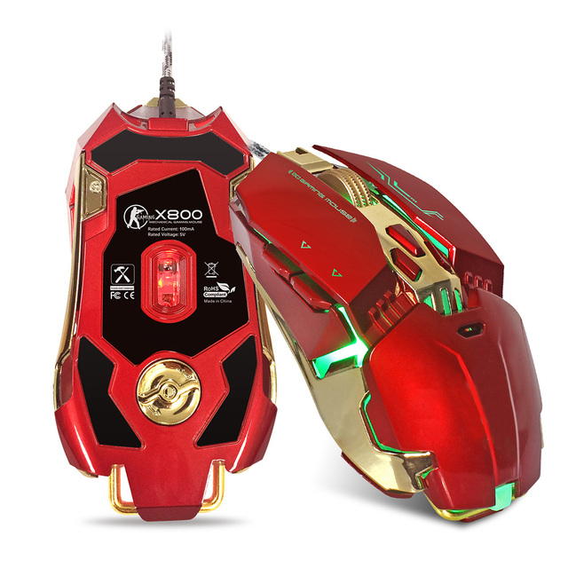 Wired Mechanical Gaming Mouse Led Optical Mouse Adjustable 3200 DPI With 8 Key