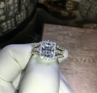 T 1rings 2bands Luxury New Bridal Set Wedding Rings Sets 3 Carat Princess Cut Best Quality