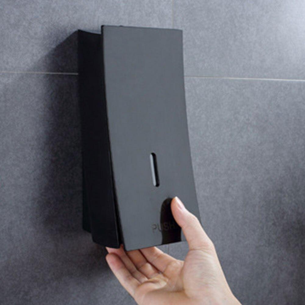 Mão Montado Parede Dispensador de Sabão 450ml preto de Banho Shampoo Líquido Recipiente de Plástico Suporte Do Sabão para o Banheiro banheiro