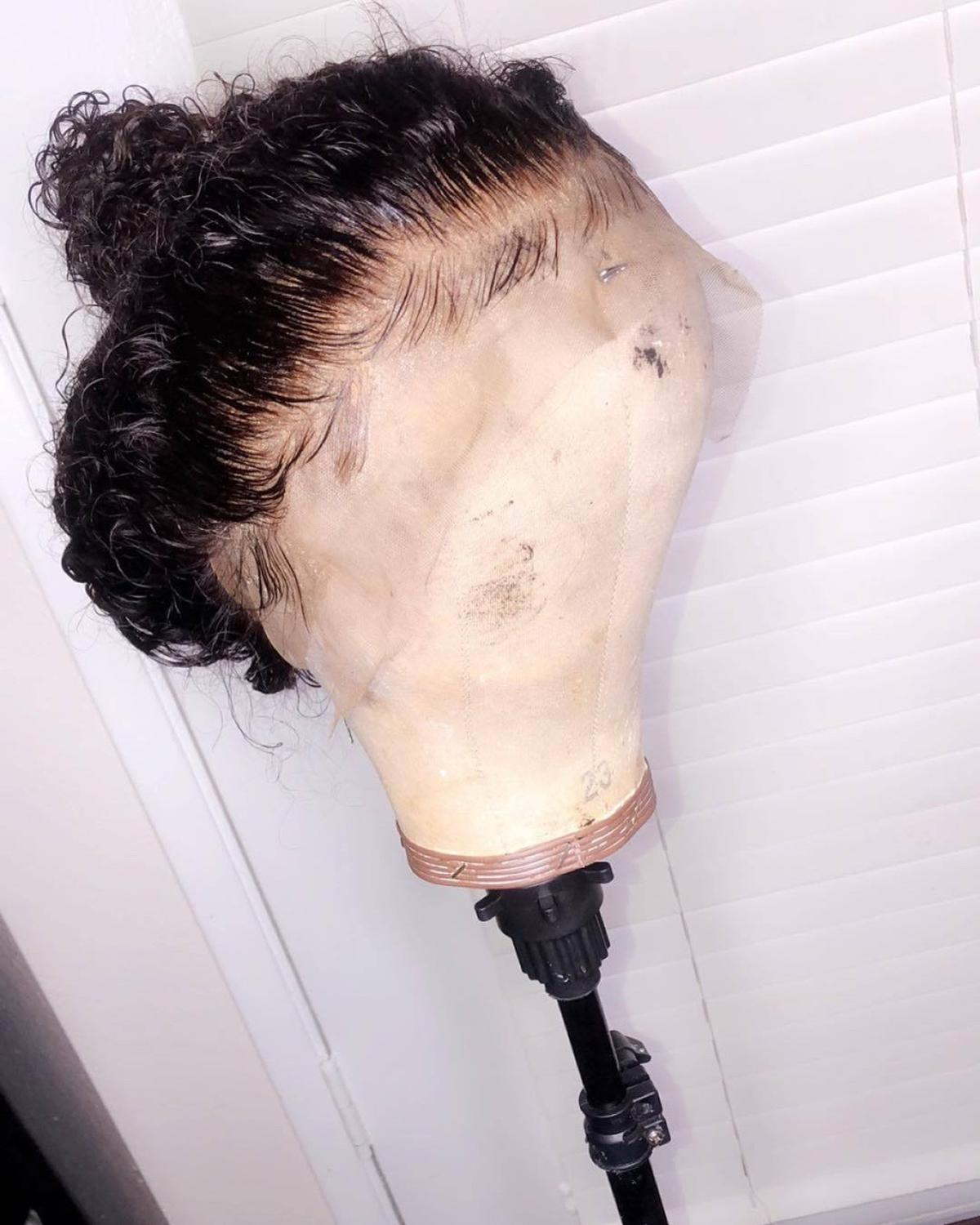 ALICROWN Curly Lace Front Human Hair Wigs Brazilian Remy Hair 13 4 Lace Front Wigs Pre
