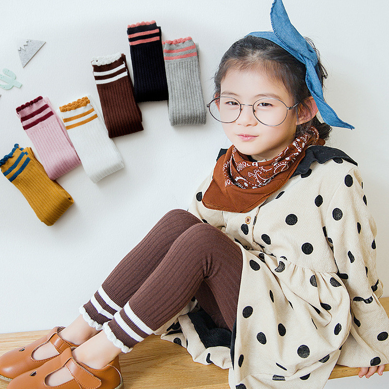 Striped Leggings For Girls Knitted Girl Leggings 2019 Children Clothing Autumn Winter Pantyhose Suit For 1 2 3 4 5 6 7 8 Years