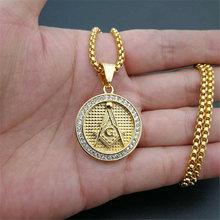 Мужское круглое ожерелье в стиле хип хоп с кулоном из масонской