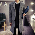 Men's windbreaker long section of spring and autumn Korean thickened wool coat Mens winter wool woolen coat in England