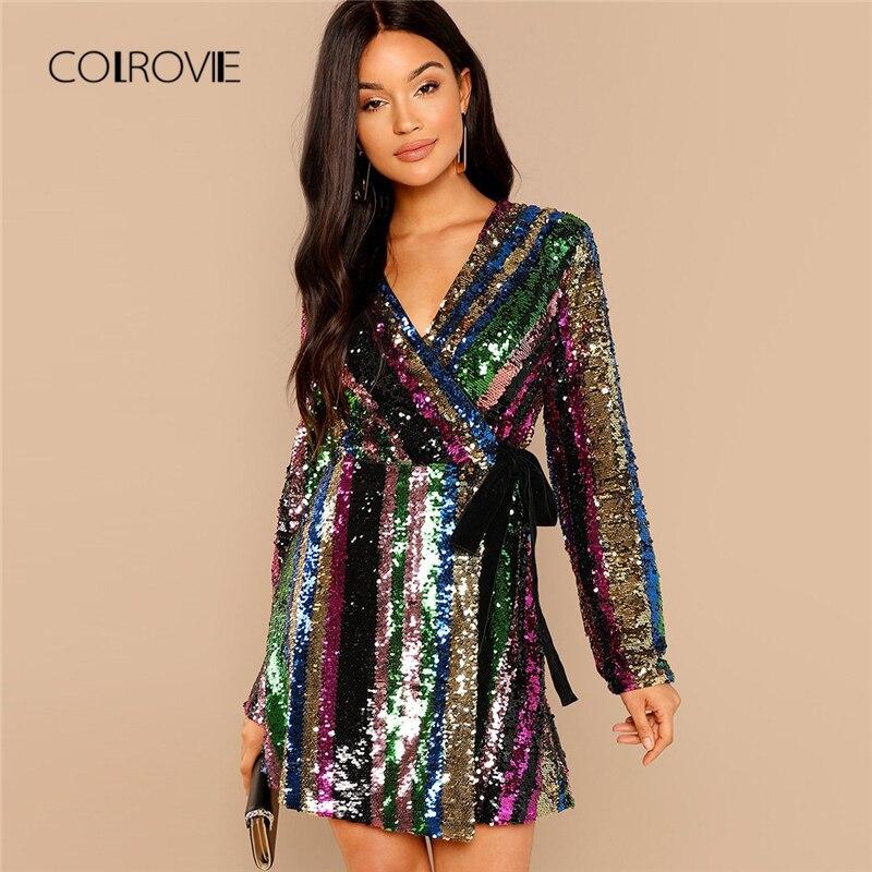 COLROVIE цвет блока обёрточная бумага блесток сексуальное платье для женщин осень 2018 г. с вечерние длинным рукавом клуб платье уличная элегантн...