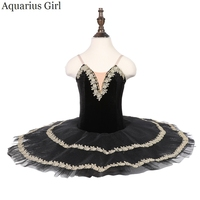 Black Ballet Pancake Tutu 7 Layers Tulles With Panty CT18085 Ballerina Stage Dancewear Child Theatre Black Swan Costumes Tutus