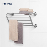 Stainless Steel Towel Rack Bathroom Wall Mounted Bathrobes Bath Towel Six Racks Bathroom Towel Shelf Storage Accessories