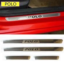 Накладка из нержавеющей стали для автомобиля/Защитная Наклейка на порог автомобиля для Skoda для Volkswagen Golf POLO RAPID 4 шт. в комплекте