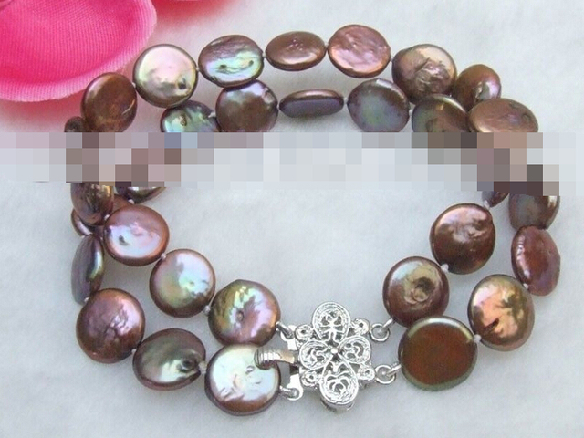 FREE SHIPPING>>>@@ > 03765 Coffee Coin Natural Pearls Bracelet