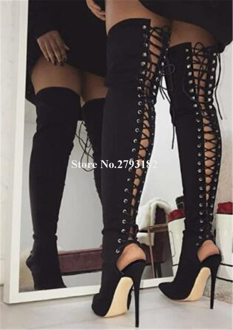 Brand Design Women Fashion Pointed Toe Suede Leather Thin Heel Over Knee Gladiator Boots Back Lace-up Cut-out Long BootsBrand Design Women Fashion Pointed Toe Suede Leather Thin Heel Over Knee Gladiator Boots Back Lace-up Cut-out Long Boots