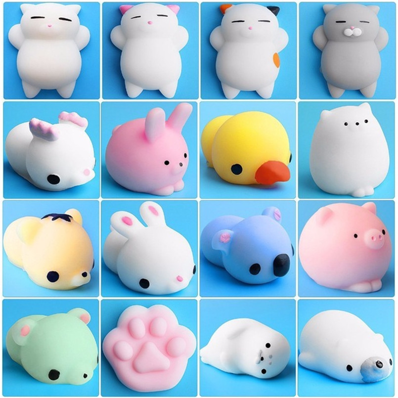 10Pcs/set Mini Squishy Toy Cat Animal Soft Cute Sticky Antistress Ball Squeeze Rising title=