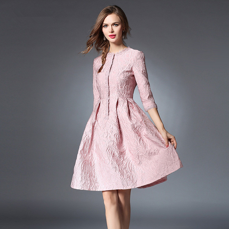 À cou Rose Robe Femme D'été Pour Dentelle Moitié Mince Lignes Douille D'o q8Pzwxqa