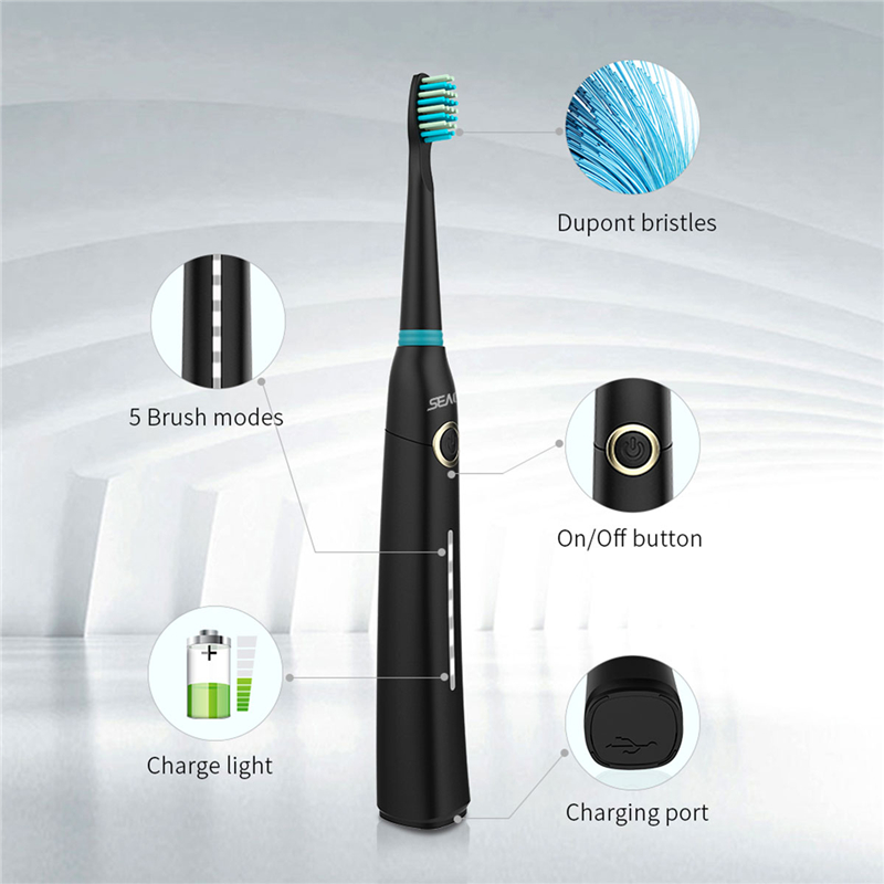 SEAGO SG-958 Sonic Electric Toothbrush DuPont Brush Whitening Teeth Oral Hygiene 5 working Modes USB Rechargeable Teeth Brush 1