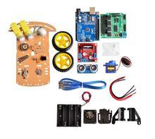 การหลีกเลี่ยงการติดตามใหม่มอเตอร์สมาร์ทหุ่นยนต์รถแชสซีชุด Encoder ความเร็วแบตเตอรี่กล่อง 2WD Ultrasonic โมดูลสำหรับ Arduino ชุด
