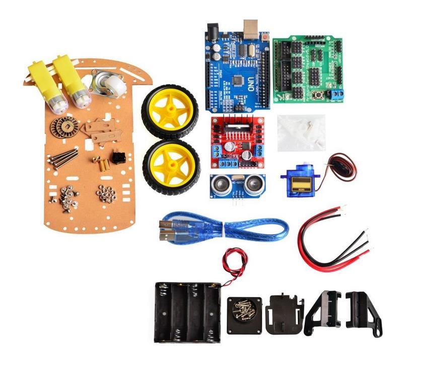 Nouveau moteur de suivi d'évitement Robot intelligent Kit de châssis de voiture encodeur de vitesse boîtier de batterie 2WD module à ultrasons pour kit Arduino