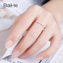 BAIHE Solid 14k Rose Gold(AU585) SI/H Round cut 100% Diamonds Engagement Trendy Fine Jewely Elegant unirque Semi Mount Gift Ring