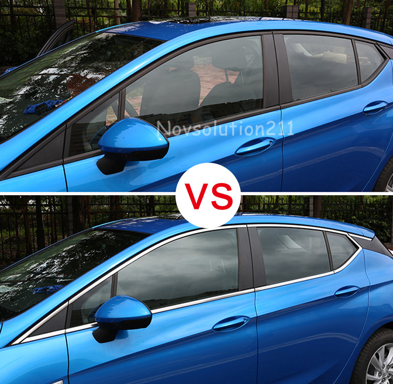 ФОТО 2016 2017 For Opel Astra K 16pcs Full Window Trim Without Center Pillar Cover
