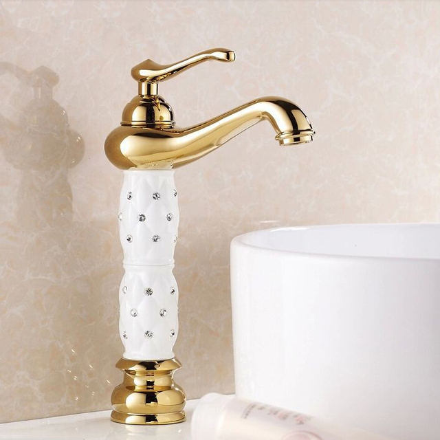 Luxury Gold Plated Bathroom Faucet Tall White Ceramic Body Basin ...