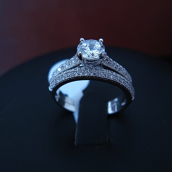 simulated diamon d classic prong setting 2 pieces stackable ring, round brilliant , R3449