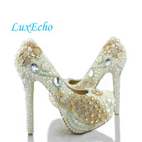 2016 Spring Pearl Wedding Shoes Ivory High Heeled Bridal Shoes Platform Shoes Peacock Crystal Wedding Shoes