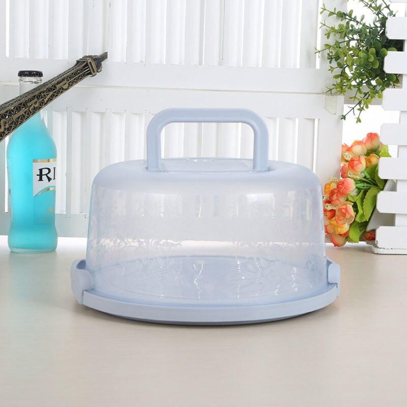 Пластиковая прозрачная коробка для торта, круглая коробка для хранения кондитерских изделий, Подарочная коробка с ручкой для хранения еды, фруктов, десертов, чехол-контейнер для тортов - Цвет: B