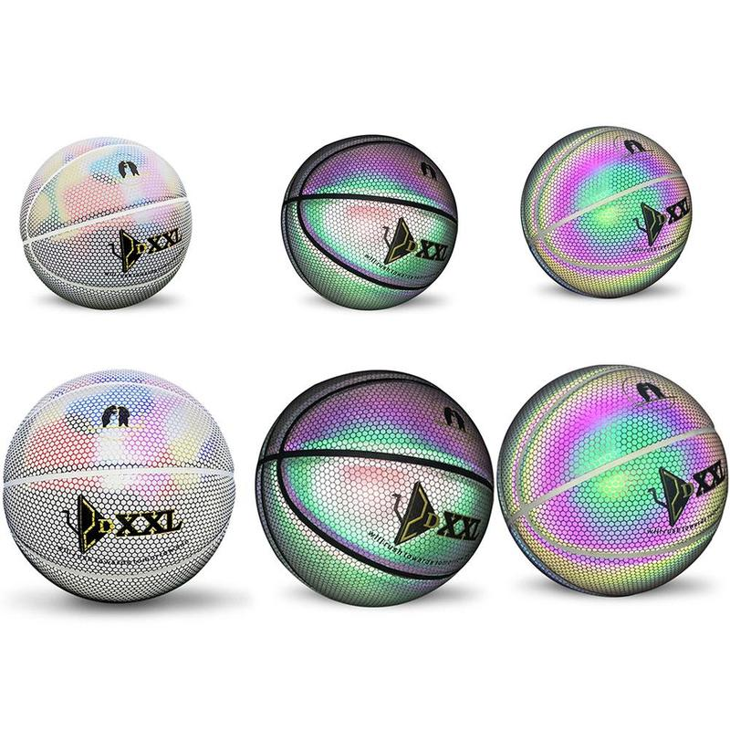 Ballon de basket-Ball en caoutchouc de rue de basket-Ball lumineux réfléchissant holographique