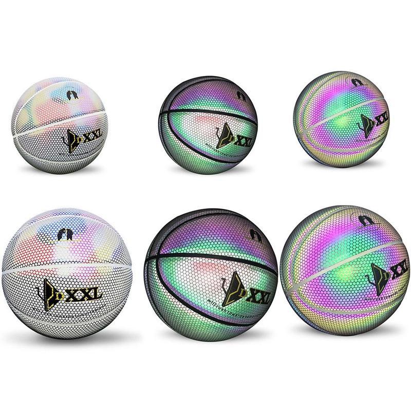 Holográfico reflectante luminosa calle Baloncesto de goma pelota de baloncesto Pu de luminiscencia noche brillante arco iris de luz