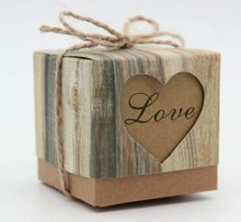 METABLE 150 pcs Romantic Heart Vintage Kraft Candy Box with Burlap Twine Chic for Wedding Decoration