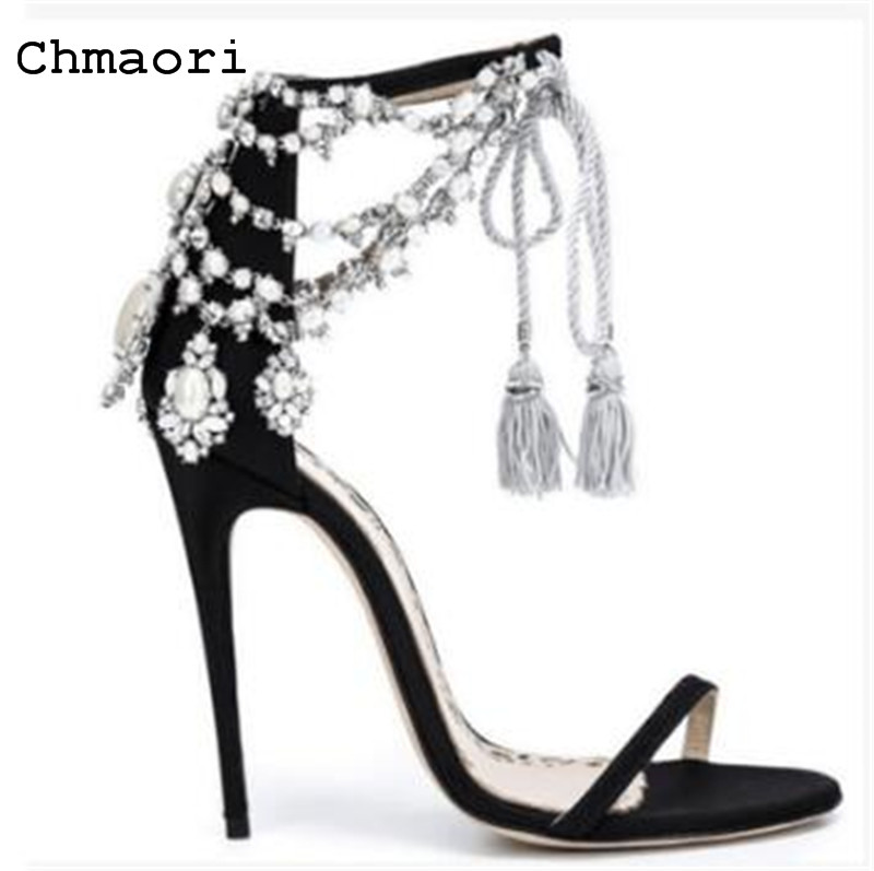 2018 summer string bead fashion women thin high heels sandals sexy ankle  opening toe black  women party shoes