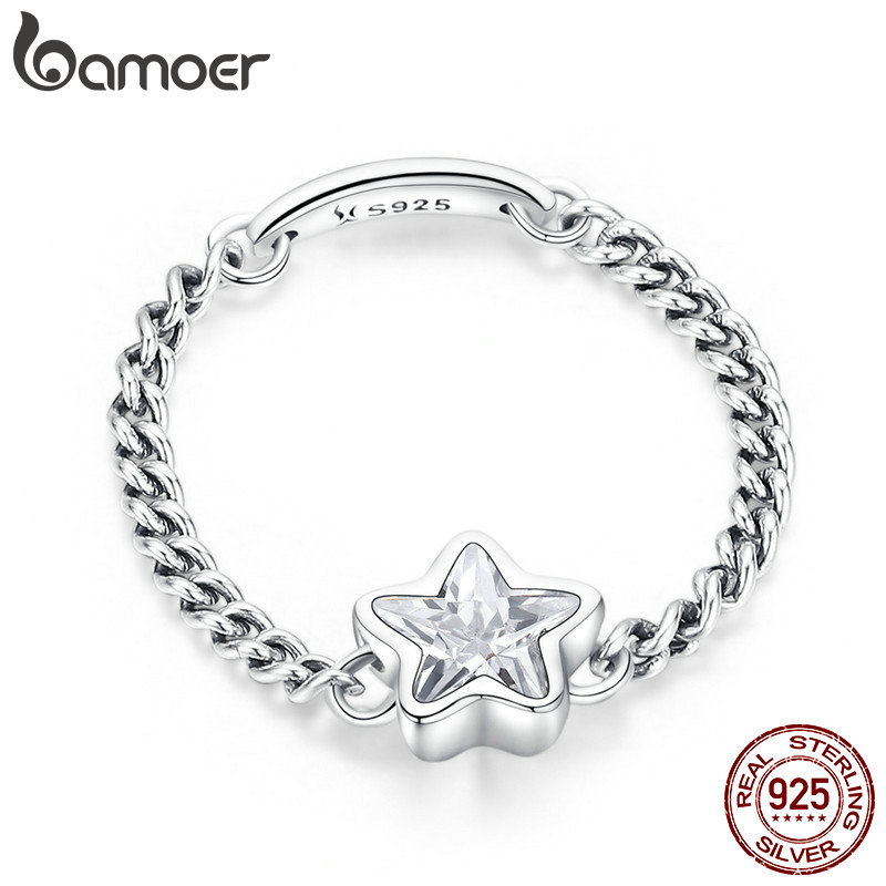 BAMOER Authentic 925 Sterling Silver Sparkling Star Finger Ring Link Chain Rings for Women Sterling Silver Jewelry anel SCR435 slovecabin real 925 sterling silver link chain lock finger rings for women vintage napkin wedding rings for women bijoux female