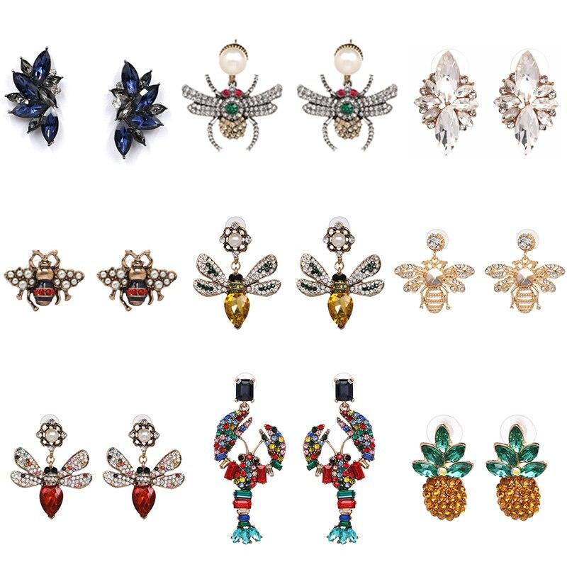 Wholesale JUJIA Women's Fashion Bee Crystal Stud Earrings Brand Sweet Party Rhinestone Ear Stud For Girl Brincos Bijoux